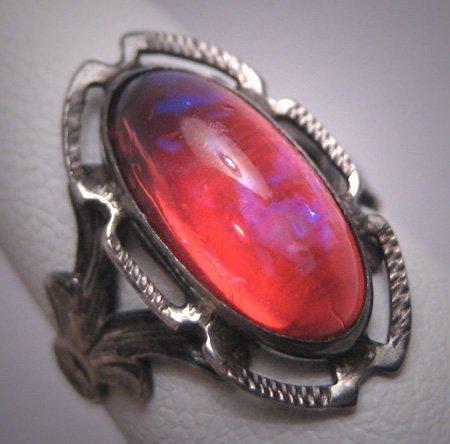 Antique Dragons Breath Opal Ring Victorian Art Deco Silver c.1900