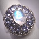 Vintage Moonstone Tanzanite Ring Retro Art Deco Wedding