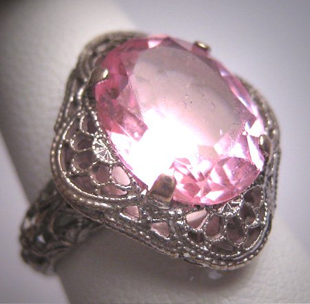 Antique Pink Sapphire Ring Vintage Filigree Wedding Victorian Art Deco