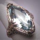 Vintage Marquise Aquamarine Diamond Ring Estate Art Deco Antique Wedding 1920