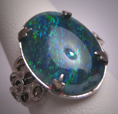 Antique Australian Black Opal Ring Vintage Art Deco Wedding Estate
