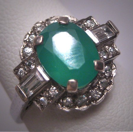 Antique Emerald White Sapphire Wedding Ring 1950 Vintage Engagement