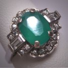 Antique Emerald White Sapphire Wedding Ring 1950 Vintage Engagement