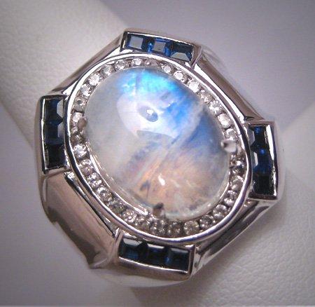Vintage Moonstone Sapphire Ring Estate Gemstones Sterling Silver Designer Wedding Gorgeous!