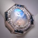 Vintage Moonstone Sapphire Ring Estate Gemstones Sterling Silver Designer Wedding Gorgeous!