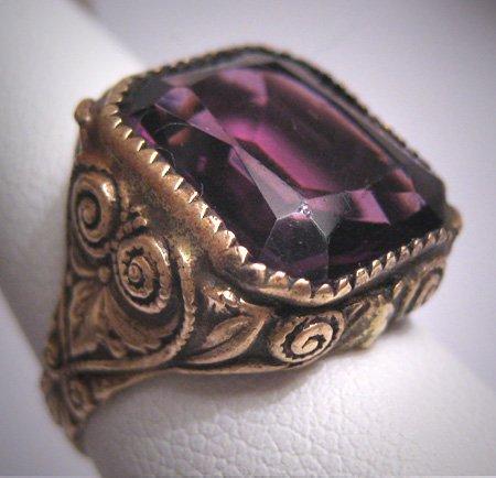 Antique Emerald Cut Amethyst French Paste Ring Victorian Art Deco c.1900