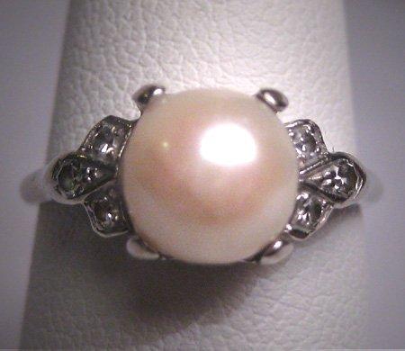 Antique Pearl Diamond Wedding Ring White Gold Art Deco 1930