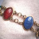 Vintage Scarab Bracelet Jade Carnelian Gold Antique Art Deco Egyptian Revival