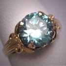 Antique Blue Zircon Wedding Ring Ostby Barton Titanic Vintage Art Deco Yellow Gold Floral c.1920