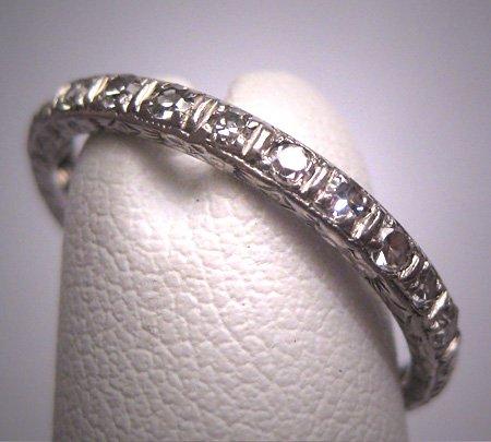 Antique Platinum Diamond Eternity Band Wedding Ring c.1920 Chased Engraving Edwardian - Art Deco 6