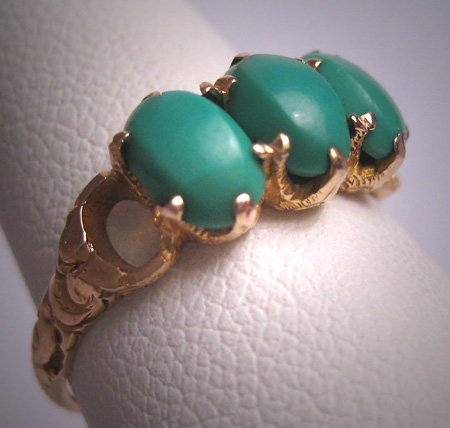 SOLD Antique Persian Turquoise Ring Georgian Victorian 14K Gold Wedding Band c.1900