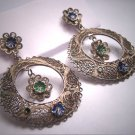 Antique Silver Enamel Earrings Oaxaca Mexican Vintage Art Deco 1930