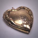 Ornate Antique Gold Heart Locket Necklace Vintage Victorian Floral 1920