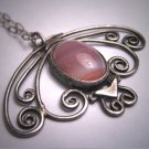 Antique Arts and Crafts Banded Agate Silver Handmade Pendant Necklace c.1900