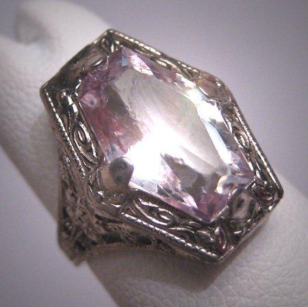 Antique Rose de France Amethyst Ring Sterling Art Deco Vintage Wedding Ostby Barton 1920 Titanic