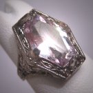 Antique Rose de France Amethyst Ring Sterling Art Deco Vintage Wedding Ostby Barton 1920 Titanic