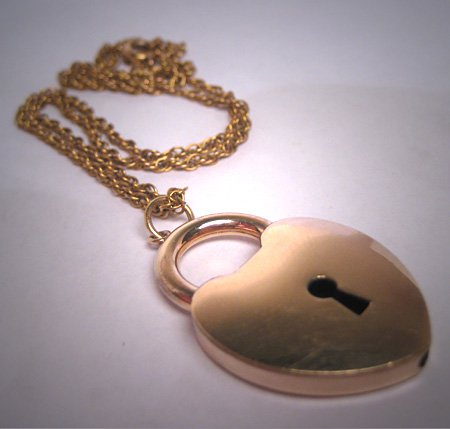 Antique Gold Puffy Heart Lock Necklace Victorian 1800s