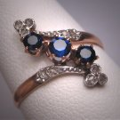 Rare Antique Victorian Platinum 18K Gold Sapphire Rose Diamond Wedding Ring French c.1840 Engagement