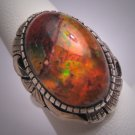 Vintage Fire Opal Ring 8ct Antique Retro Modernist 50s