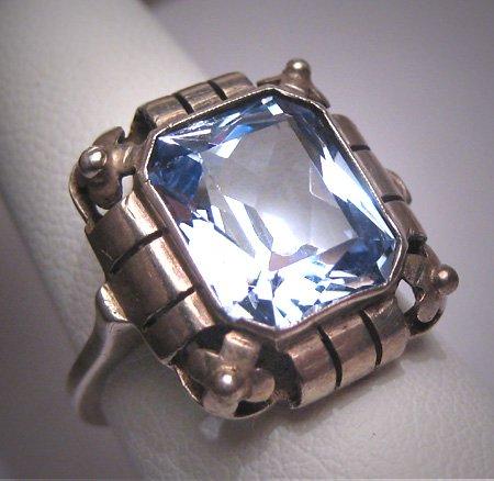 Antique Aquamarine Ring Wedding Vintage Art Deco Floral Filigree c1920