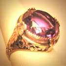 Antique Wedding Ring Amethyst Silver Filigree Art Deco Floral c.1920