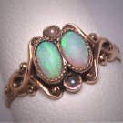 Antique Victorian Australian Opal Pearl Ring Vintage Wedding Rare 1800s