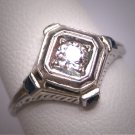 Antique Old Euro Cut Diamond Sapphire Wedding Ring Vintage Ostby Barton 18K White Gold c.1900