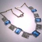 Antique Sapphire Necklace Vintage Art Deco Edwardian Filigree c.1900