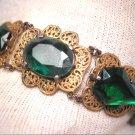 Antique Emerald Paste Bracelet Vintage Filigree Art Deco c.1920