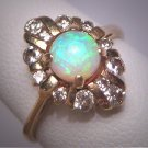 Vintage Australian Opal Diamond Ring Retro Art Deco Antique Wedding 1950