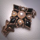 Antique Victorian Black Onyx Seed Pearl Ring Wedding Rose Gold 19th Century