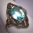 Antique Aquamarine Ring Vintage Art Deco Filigree Wedding Gold c.1920