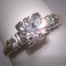 Antique Old Euro Diamond Wedding Ring Art Deco Vintage 14K White Gold 1930 .95CT