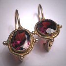 Vintage Georgian Victorian Revival Oval Garnet Earrings