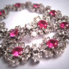 Antique Art Deco Ruby and White Sapphire French Paste Floral Bracelet Vintage 1930s