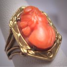 Antique Italian Coral Cameo Ring Vintage Art Nouveau Deco Filigree Botanical Gold Setting Wedding