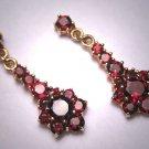 Antique Style Victorian Garnet Earrings Bohemian Vintage Gold Gilt