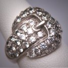 Vintage Cubic Zirconia Buckle Ring Estate Retro Art Deco Wedding Ring 1950