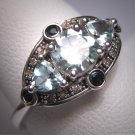 Vintage Aquamarine Sapphire Diamond Ring Wedding Art Deco Style