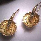 Antique Victorian Earrings Etruscan 14K Yellow Gold Dangle Vintage c.1820