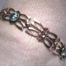 Vintage Blue Zircon Bracelet Gold Floral Antique Art Deco 1930