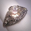 Antique White Sapphire Wedding Ring Vintage Art Deco