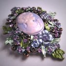 Antique Style Vintage Cameo Pin Brooch Enamel and Crystals Victorian Style