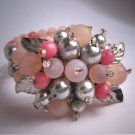Vintage Miriam Haskell Style Bracelet Pink Glass Pearl Hand Beaded c.1930's