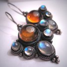 Vintage Moonstone Amber Earrings Victorian Georgian Revival Arts and Crafts Silver