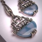 Antique Art Deco Blue Calcydony Rose Cut Earrings Vintage 1920 Silver