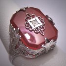 Antique Carnelian Ring Silver Ornate Art Deco Floral Filigree Setting Wedding 1920