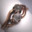 Antique Double Globe Moonstone Ring Victorian Rose Gold Band Wedding 1880