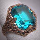 Antique Aquamarine Ring Gold Wedding Vintage Art Deco Ornate Filigree c1920 Ostby Barton Titanic