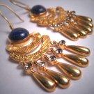 Long Vintage Lapis Aquamarine Dangle Earrings Victorian Georgian Revival Etruscan Gold Silver